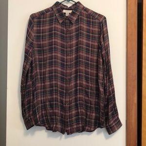 Loft Button Down Plaid Shirt- M